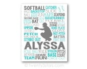 Softball Catcher Typography Art, Girl's Room Art, Choose Any Colors, Personalized for Softball Team or Coach, Canvas or Art Print