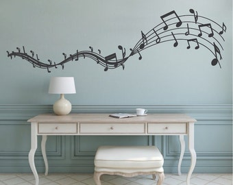 Music Melody Wall Decal, Musicians Wall Art, Removable Music Wall Decals,  Music Wall Part 70