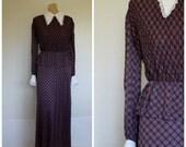 1970's Dress / Maxi Dress / Vintage Dress / Peplum Maxi Dress / Victorian Collar Dress / Vintage Maxi Dress / Corky Craig California S