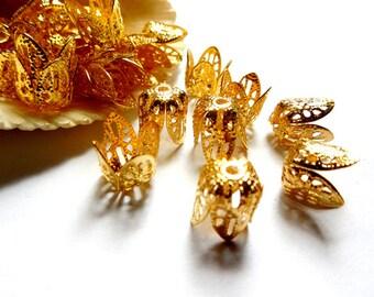 10 Gold Plated Filigree Bead Caps - 18-7