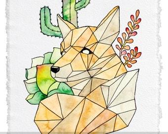 Desert Fox Watercolor Print