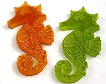 Laser Cut Supplies- 2 Pieces. 25 mm Seahorse Charms - Laser Cut Acrylic - Jewelry Supplies-Little Laser Lab.Online Laser Cutting Australia