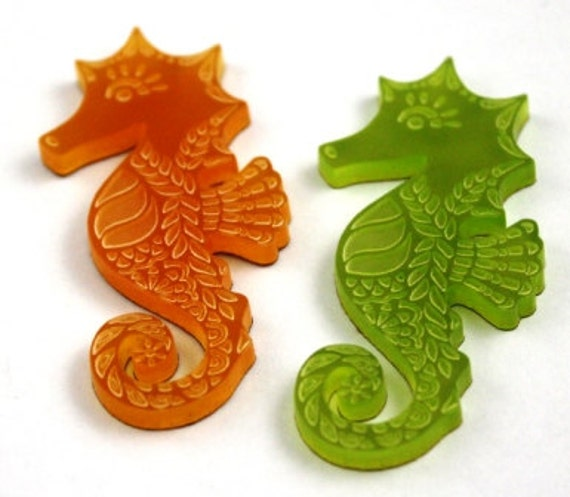 Laser Cut Supplies- 2 Pieces. 25 mm Seahorse Charms - Laser Cut Acrylic - Jewelry Supplies-Little Laser Lab.Online Laser Cutting Australia