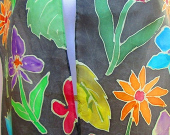Hand painted silk scarf accessory- unique gift woman mom wife- handmade in the Hudson Valley- one of a kind art to wear