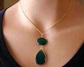 VALENTINE Sale Green Onyx Large Drop Necklace, Emerald Green, Green Gemstone, May Birthstone