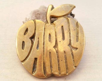 Vintage solid brass Barry apple belt buckle