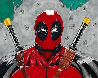 Deadpool OOAK 11x14 print