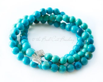 Boho Beaded Stretch Stack Bracelet Turquoise Trio 6mm Bead