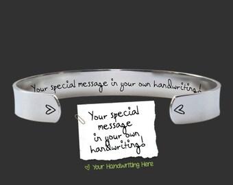 "Handwriting Jewelry | 3/8"" Handwriting Bracelet | Design Your Own Bracelet | Handwriting Gift | Personalized Gifts | Korena Loves"