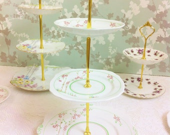 Pretty Hand Painted Art Deco 3 Tier Cake Stand