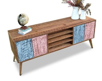 Flash Sale! Eco Recycled Solid Timber Modern Mid Century Retro Scandi Wooden TV Stand Entertainment Unit With Shelves in Pastel Blue & Pink