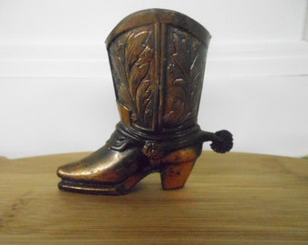 "Cowboy Boot & Spur Miniature Copper Color Metal Detailed Made in Japan 2 5/8"" Tall Vintage Collectible Western Texas Toothpick Holder"