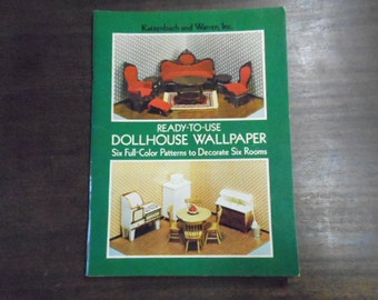"""Dollhouse Wallpaper for Miniature Rooms Ready to Use 1977 Six Patterns for Six Rooms 24 Pages 8 1/4"""" X 11"""" Instructions Vintage Craft DIY"""