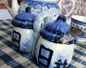 Double Jam Pot, Cottage Style, Blue