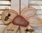 Primitive Flower Garden a Buzzin' with Bees Plaque or Sign Hand Crafted and Painted