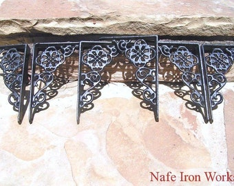 SIX Small Cast Iron Wall Shelf Brackets Corbel VICTORIAN Braces BLACK et