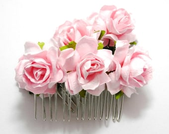 Light Pink/ Candy Pink Open Rose Floral Hair Comb/ Traditional/ Bridal/ Wedding Hair Accessories/ Bridesmaid Hair Fascinator