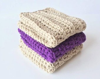 Cotton Crocheted Wash Cloths for bath - Kitchen dish towels - cotton wash cloths - kids wash cloths - wash cloths for baby - sister gift