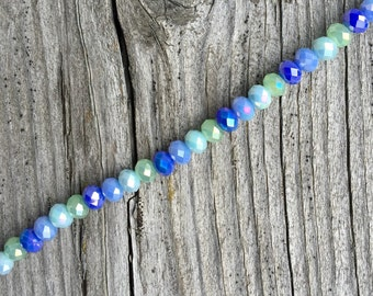Faceted Rondelle Beads 4x6mm Seaglass