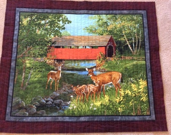 Quilted Wall Hanging-Sofa or Chair Throw-Covered Bridge-Deer-Painting-Forest Scene-Brown-Grey-Green-Gold-Blue