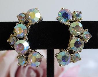 Aurora Borealis Screw Back Earrings - Mid Century Bling