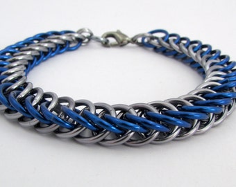 Blue and Dark Silver / Gunmetal Chainmaille Bracelet - Nickel Free Chain Bracelet for Men and Women - Handmade Chainmail