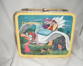 1970s The Rescuers metal lunch box with thermos
