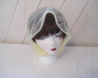 Yellow head scarf, vintage nylon head scarf, mid century, 50s 60s
