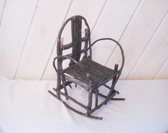 Doll Rocking Chair, Rustic Twig Chair, Vintage Adirondack Rocking Chair