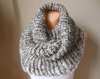 Knitted Infinity Scarf Cowl Neck Warmer Oatmeal Beige/Cream