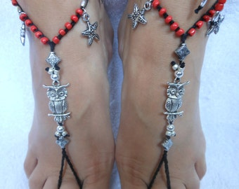 Crochet Barefoot Sandals Beach Wedding  Yoga Shoes Foot Jewelry Black Red Silver