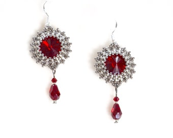 Silver and red beaded earrings, chandelier earrings, crystal, Great Gatsby, Art Deco, flapper, Phryne Fisher, 1920s