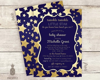 Twinkle Twinkle Little Star Baby Shower Invitations - Color: Navy & Gold