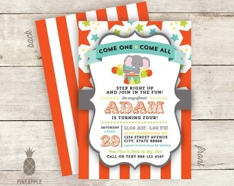 Circus Inspired Birthday Party Invitations