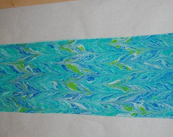 Blue and green  marbled silk scarf