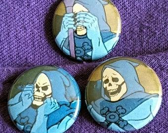 """Sad Skeletor 1"""" Button or Magnet set"""