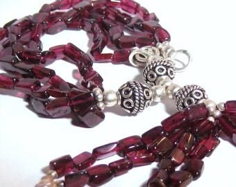 Garnet Bracelet, Tassel Bracelet, Gemstone Bracelet,  Sterling Silver Bracelet, January Birthstone, Boho Jewelry, Bohemian Jewelry