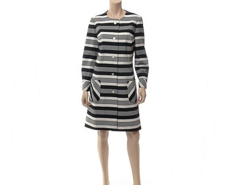 Vintage 60s Black and White Coat Dress 1960s Carnaby Street Mod Stripe Knit Hipster Twiggy Space Age Dress / size Large