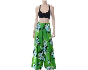 Vintage 60s 70s Hawaiian Palazzo Pants 1960s 1970s Paradise Hawaii Tropical Floral Polynesian Luau Hippie Boho High Waist Wide Leg Pants