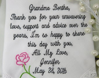Grandmother Embroidered Wedding Handkerchief