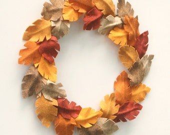 Feathery Thanksgiving Wreath - Autumn Wreath - Felt Feather Wreath - Felt Leaf Fall Wreath