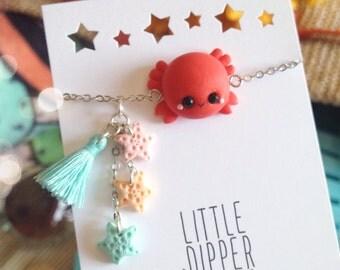 Cute Crab and Seastars bracelet - polymer clay jewelry