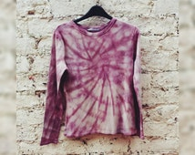 Burgundy Tie Dye Top Long Sleeve Tee Womens to fit UK size 12 or US size 8 Hippy Trippy Coachella Festival Tumblr Gift for Her Summer Trends