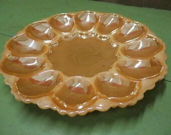 Anchor Hocking Fire King Peach Luster Egg Platter