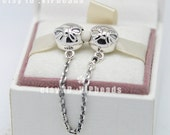 2015 New 925 Sterling Silver Dainty Bow with Clear CZ Safety Chain Stopper Beads Safety fit European Bracelets SA009