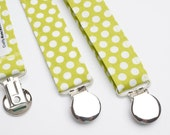 Suspenders - Green with White Polka Dots Adjustable Suspenders