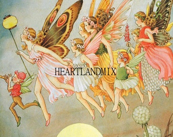 Fairies vintage digital art graphic download printable image