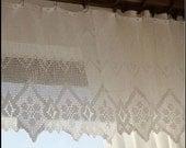 "22""-24""x200"" Super Wide Crochet Valance Cafe Curtain White~Cotton"