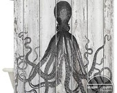 Shower Curtain Art Design  /Octopus Painted on a Beach Slatted Wood Fence // Custom Bathroom Decor // 12 stitch-enforced eyelets