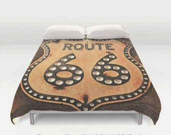 Photo to Digital Watercolor Painting Route 66 / Duvet Comforter Cover Bedding Art  / 2nd ships FREE! / Sizes Full, Queen ( XL Twin) , & King